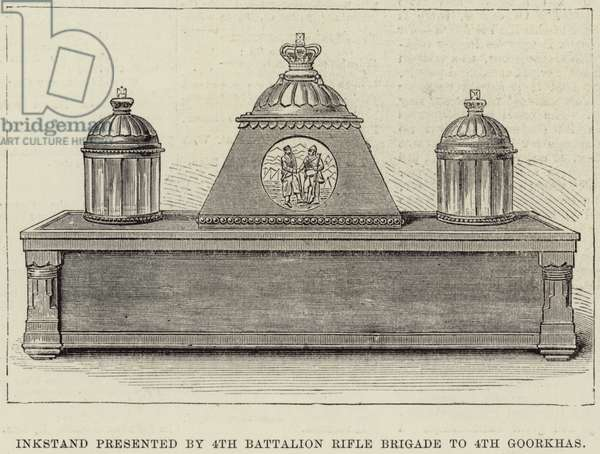 Inkstand presented by 4th Battalion Rifle Brigade to 4th Goorkhas (engraving)