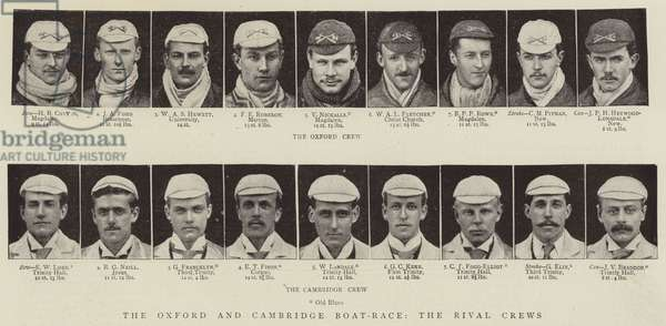 The Oxford and Cambridge Boat-Race, the Rival Crews (b/w photo)