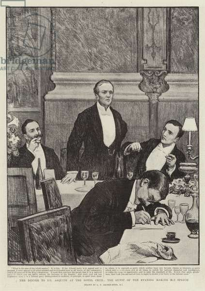 The Dinner to Mr Asquith at the Hotel Cecil, the Guest of the evening making his Speech (litho)