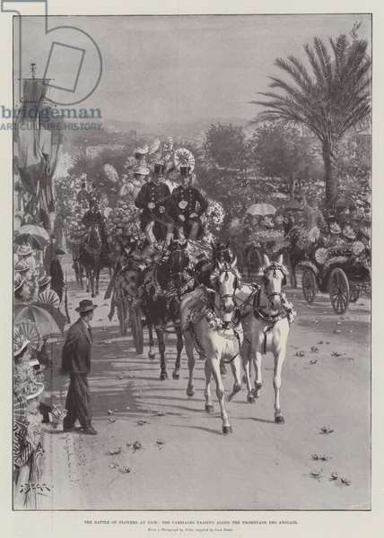 The Battle of Flowers at Nice, the Carriages passing along the Promenade des Anglais (litho)