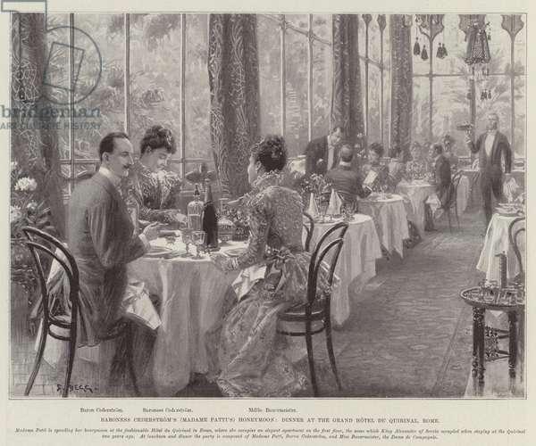 Baroness Cederstrom's (Madame Patti's) Honeymoon, Dinner at the Grand Hotel du Quirinal, Rome (litho)