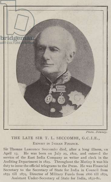 The late Sir T L Seccombe, GCIE, Expert in Indian Finance (b/w photo)