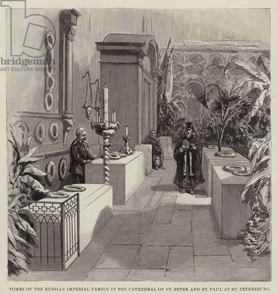 Tombs of the Russian Imperial Family in the Cathedral of St Peter and St Paul at St Petersburg (engraving)