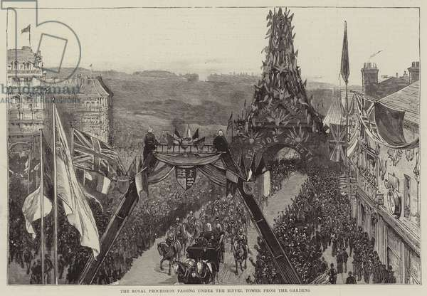 The Royal Procession passing under the Eiffel Tower from the Gardens (engraving)