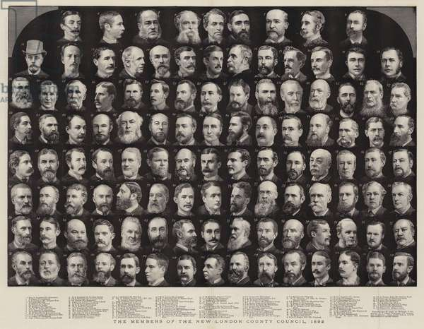 The Members of the New London County Council, 1892 (engraving)