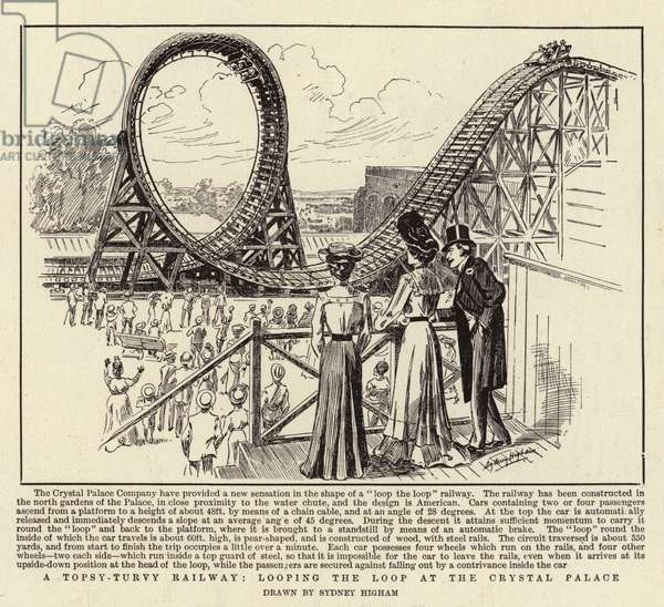 A Topsy-Turvy Railway, looping the Loop at the Crystal Palace (engraving)