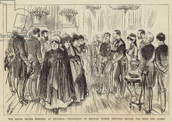 The Royal Silver Wedding at Brussels, Procession of Belgian Women defiling before the King and Queen (engraving)