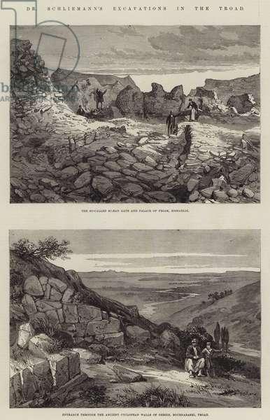 Dr Schliemann's Excavations in the Troad (engraving)