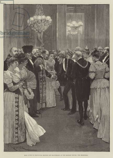 Ball given to Provincial Mayors and Mayoresses at the Mansion House, the Reception (engraving)