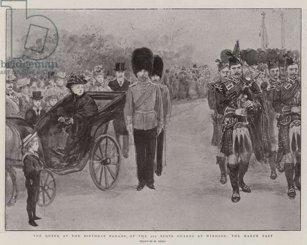 The Queen at the Birthday Parade of the 2nd Scots Guards at Windsor, the March Past (litho)