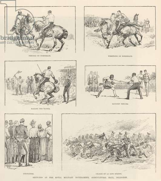 Sketches at the Royal Military Tournament, Agricultural Hall, Islington (engraving)