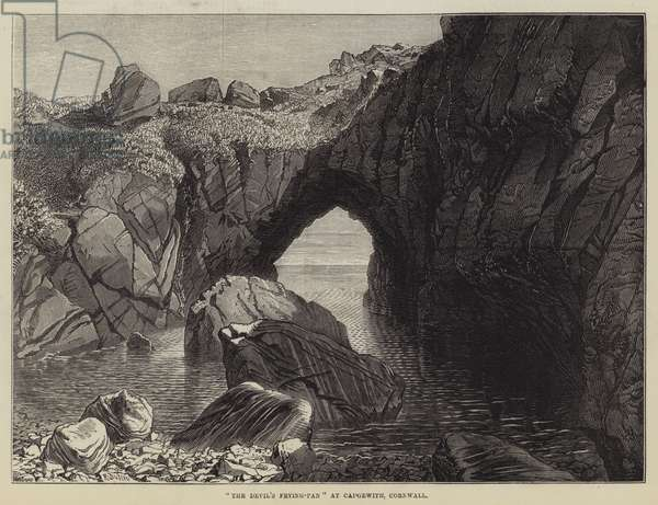 """""""The Devil's Frying-Pan"""" at Cadgewith, Cornwall (engraving)"""
