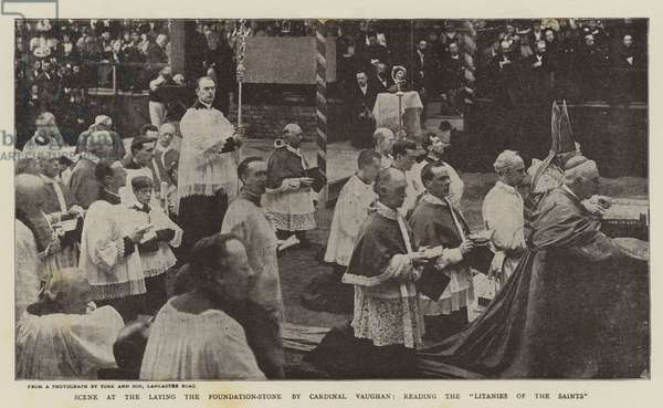 """Scene at the Laying the Foundation-Stone by Cardinal Vaughan, reading the """"Litanies of the Saints"""" (b/w photo)"""