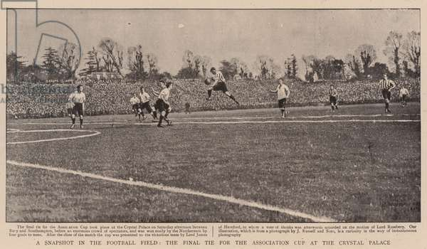 A Snapshot in the Football Field, the Final Tie for the Association Cup at the Crystal Palace (b/w photo)