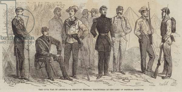 The Civil War in America, a Group of Federal Volunteers in the Camp of General Prentiss (engraving)