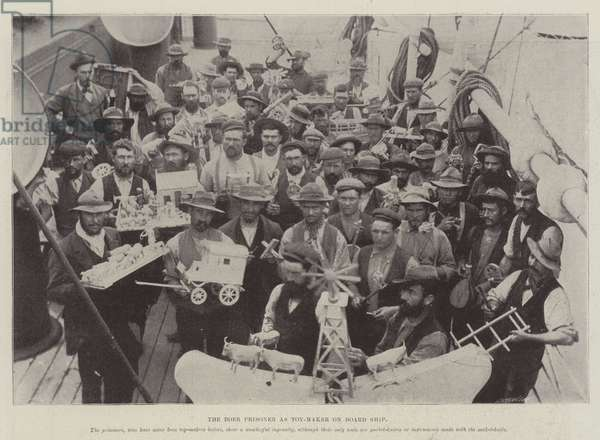 The Boer Prisoner as Toy-Maker on Board Ship (b/w photo)