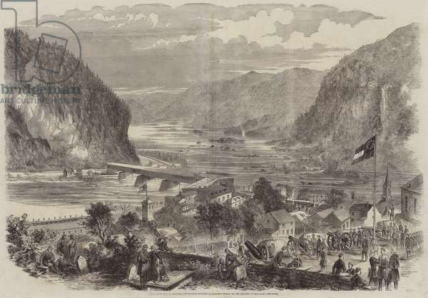 The Civil War in America, Secessionist Battery at Harper's Ferry on the Heights overlooking the Town (engraving)