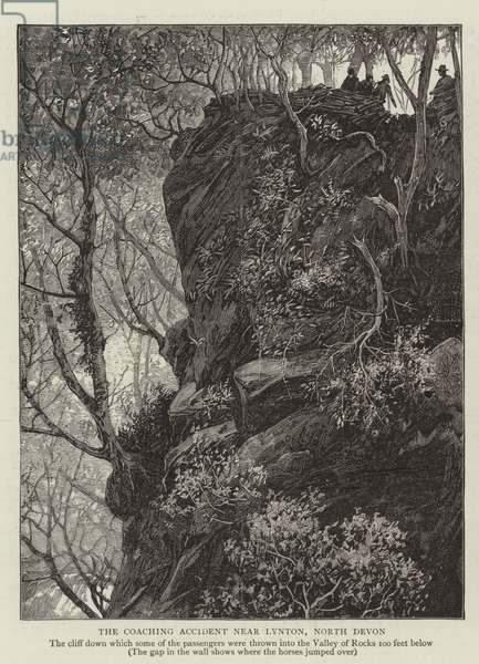 The Coaching Accident near Lynton, North Devon (engraving)