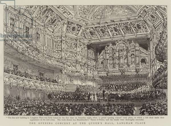 The Opening Concert at the Queen's Hall, Langham Place 9 December 1893 (engraving)
