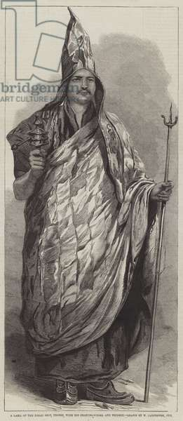 A Lama of the Dalai Sect, Thibet, with his Praying-Wheel and Trident (engraving)