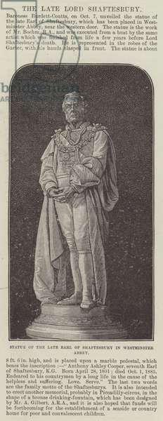 Statue of the late Earl of Shaftesbury in Westminster Abbey (engraving)
