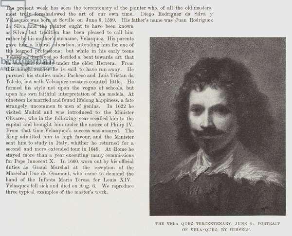 The Vela Quez Tercentenary, 6 June, Portrait of Velasquez, by himself (engraving)