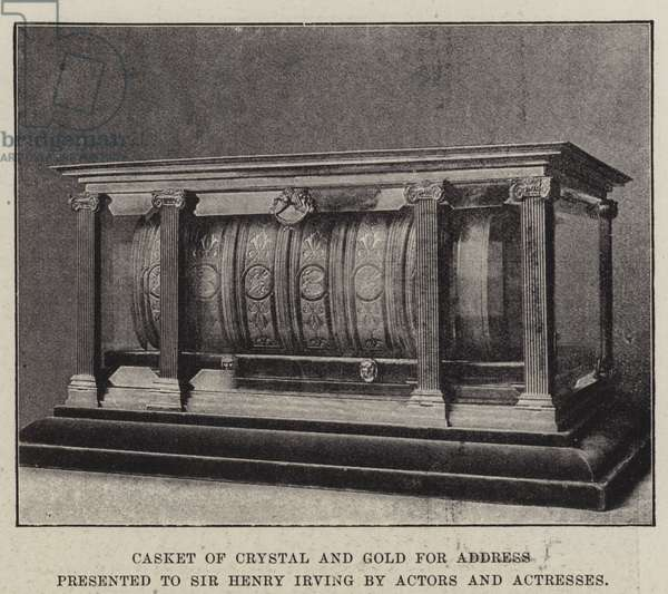 Casket of Crystal and Gold for Address presented to Sir Henry Irving by Actors and Actresses (b/w photo)