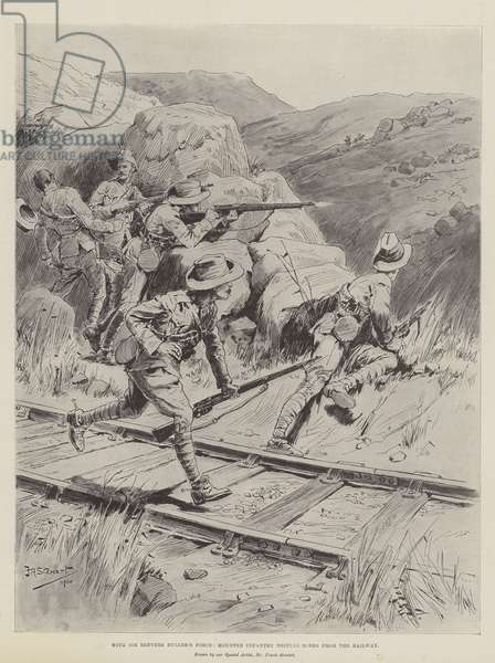 With Sir Redvers Buller's Force, Mounted Infantry driving Boers from the Railway (litho)