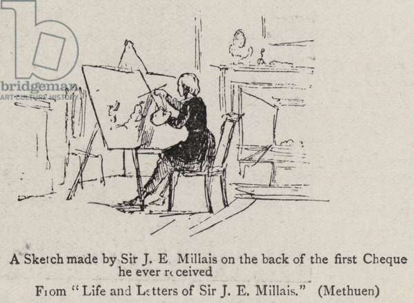 A Sketch made by Sir J E Millais on the back of the first Cheque he ever received (engraving)