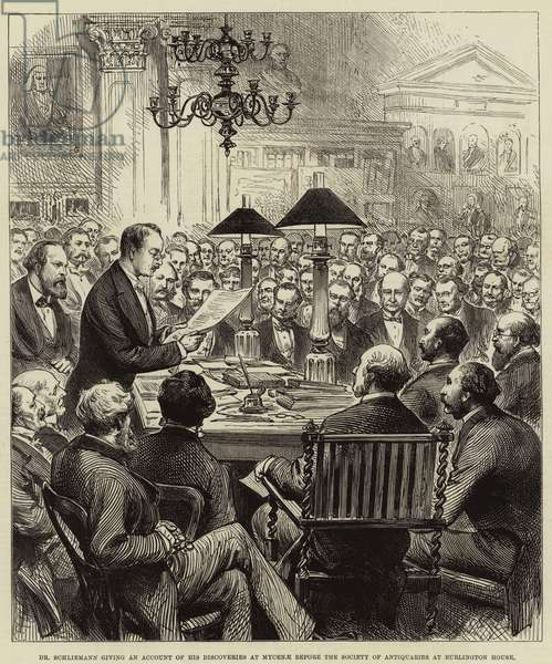 Dr Schliemann giving an Account of his Discoveries at Mycenae before the Society of Antiquaries at Burlington House (engraving)