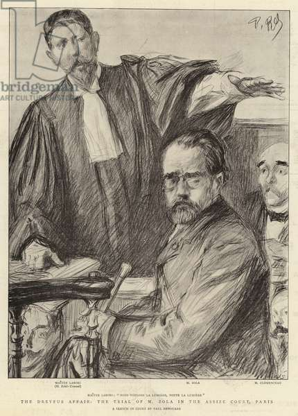 The Dreyfus Affair, the Trial of M Zola in the Assize Court, Paris (litho)