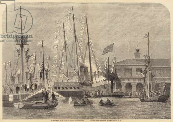 The Embarkation of the Prince and Princess Frederick-William of Prussia at the Terrace Pier … (engraving)