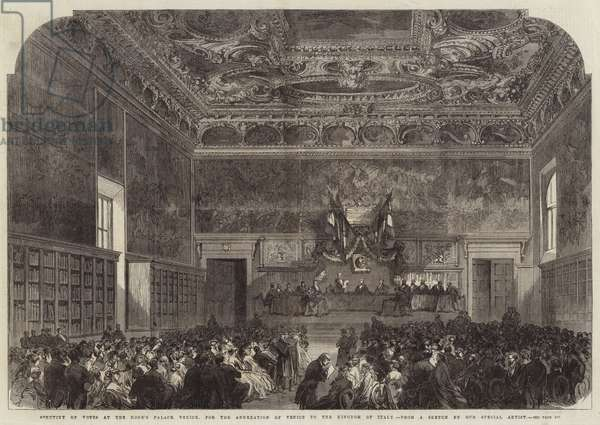 Scrutiny of Votes at the Doge's Palace, Venice, for the Annexation of Venice to Kingdom of Italy (engraving)