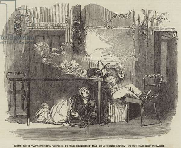 "Scene from ""Apartments, Visitors to the Exhibition may be accommodated,"" at the Princess' Theatre (engraving)"