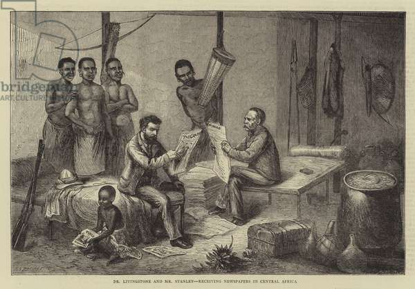Dr Livingstone and Mr Stanley, receiving Newspapers in Central Africa (engraving)