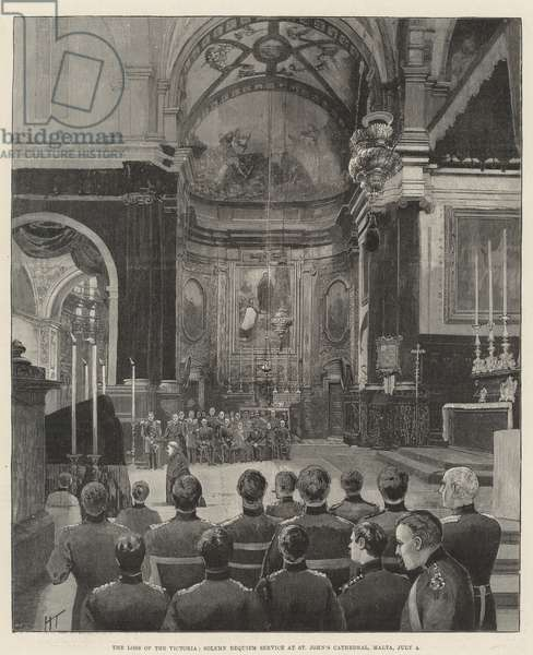 The Loss of the Victoria, Solemn Requiem Service at St John's Cathedral, Malta, 4 July (engraving)