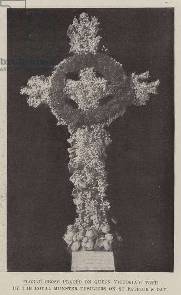 Floral Cross placed on Queen Victoria's Tomb by the Royal Munster Fusiliers on St Patrick's Day (b/w photo)