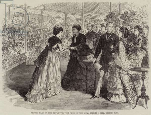 Princess Mary of Teck distributing the Prizes of the Royal Botanic Society, Regent's Park (engraving)