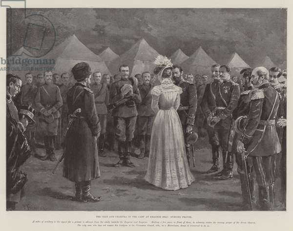 The Czar and Czaritza in the Camp at Krasnoe Selo, Evening Prayer (litho)