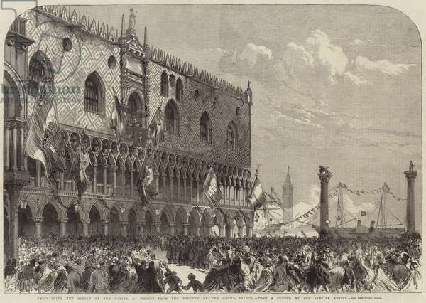Proclaiming the Result of the Voting at Venice from the Balcony of the Doge's Palace (engraving)