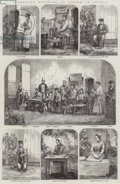 Champagne Bottling, at Pierry, in France (engraving)