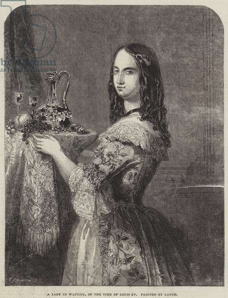 A Lady in Waiting, of the Time of Louis XV (engraving)