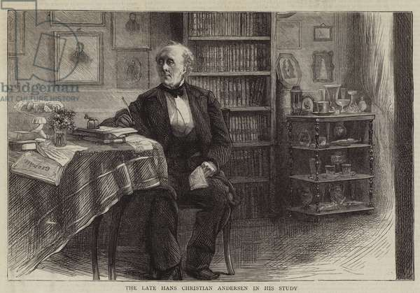 The Late Hans Christian Andersen in his Study (engraving)