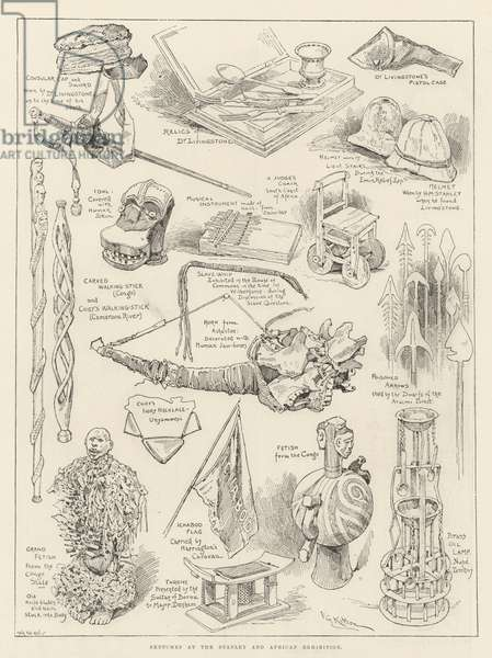 Sketches at the Stanley and African Exhibition (engraving)