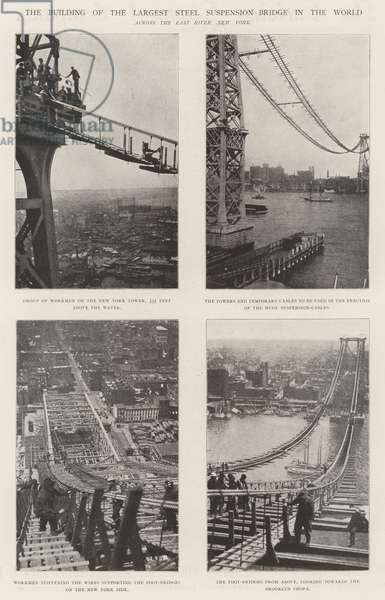 The Building of the Largest Steel Suspension-Bridge in the World (engraving)