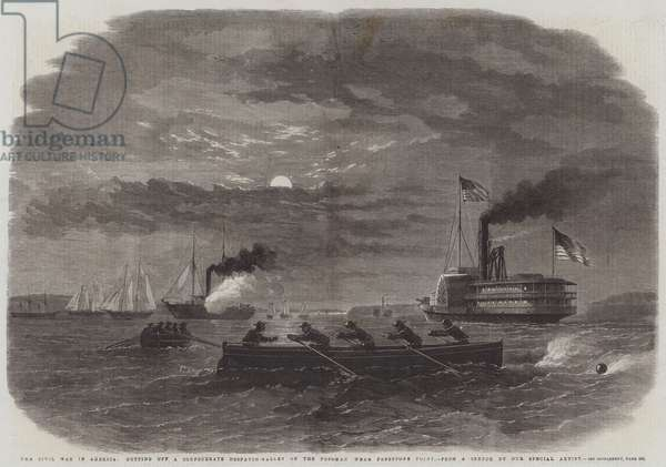 The Civil War in America, cutting off a Confederate Despatch-Gallery on the Potomac near Freestone Point (engraving)