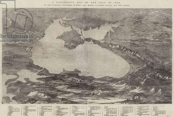 A Picturesque Map of the Seat of War, in the Danubian Provinces, Turkey, Asia Minor, Southern Russia, and the Crimea (engraving)