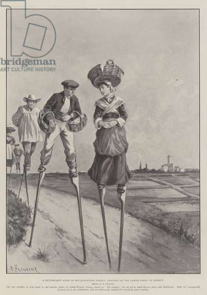 A Picturesque Scene in South-Western France, Peasants of the Landes going to Market (litho)