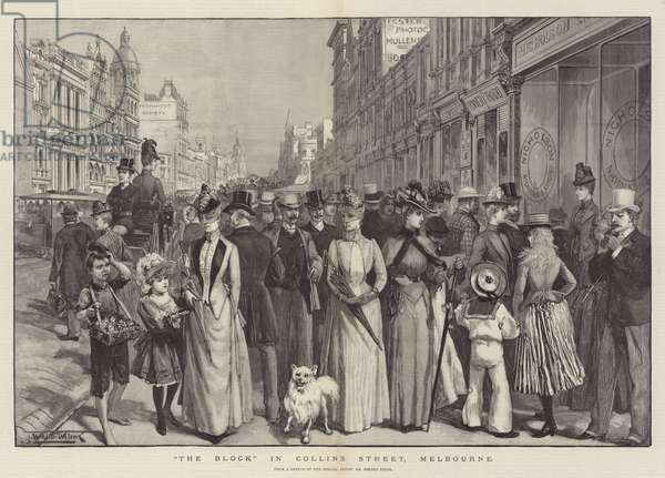 """""""The Block"""" in Collins Street, Melbourne (engraving)"""