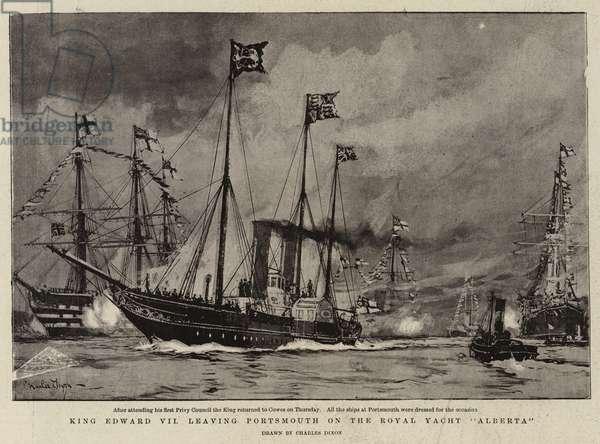 "King Edward VII leaving Portsmouth on the Royal Yacht ""Alberta"" (engraving)"